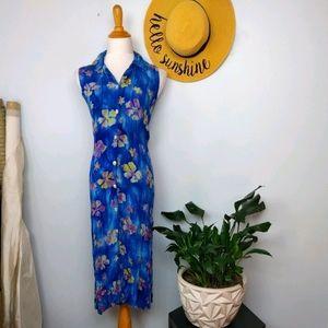 Vintage 90s Crinkle Rayon Floral Maxi Dress. Size